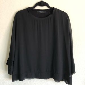 Zara Woman sheer blouse, black, S
